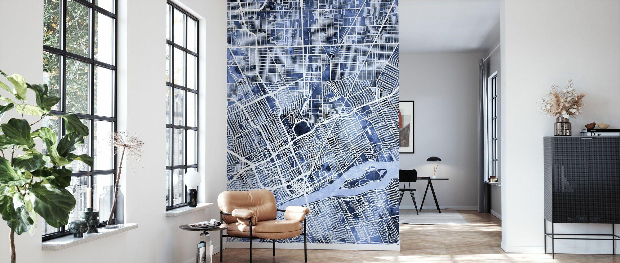 Detroit Michigan City Map - Wallpaper - Living Room