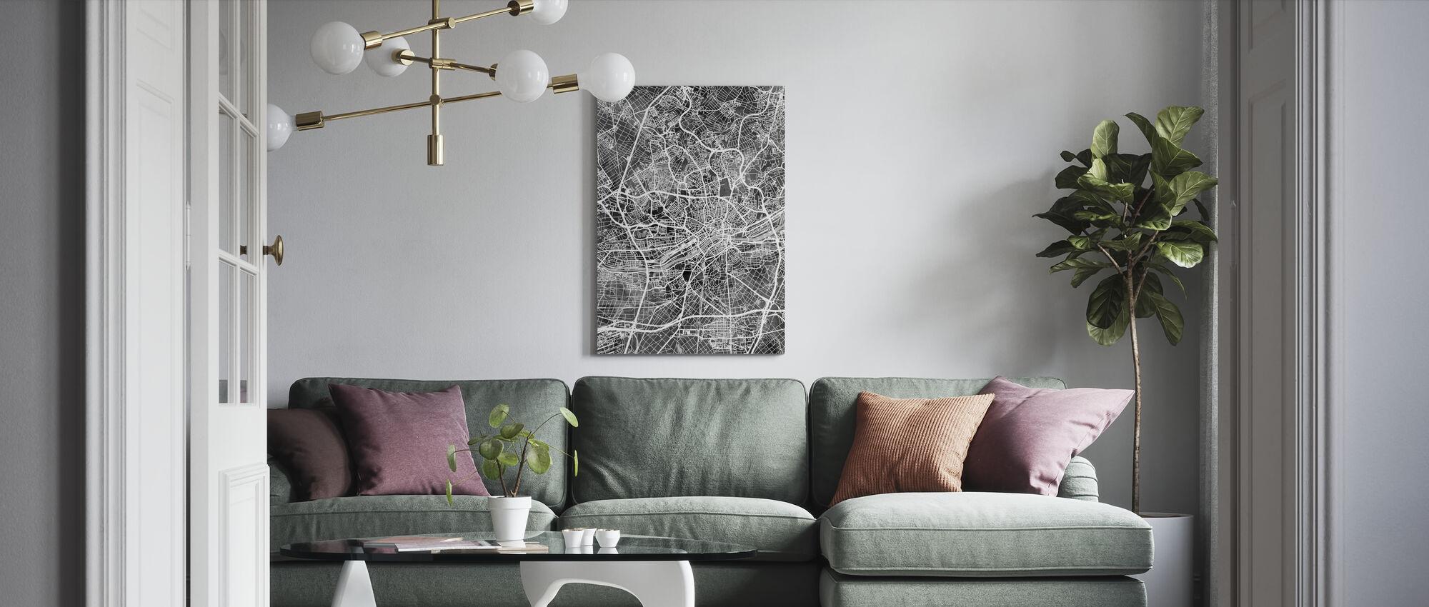 Frankfurt Deutschland Stadtplan - Leinwandbild - Wohnzimmer