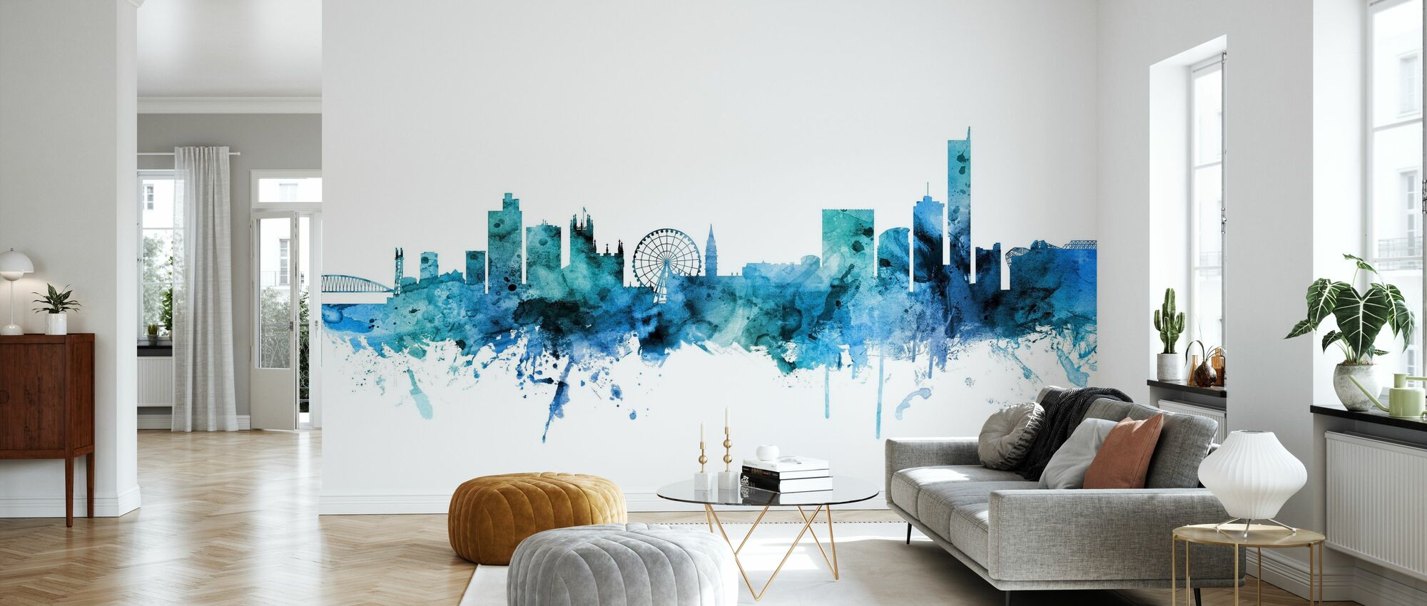 Manchester England Skyline - Wallpaper - Living Room