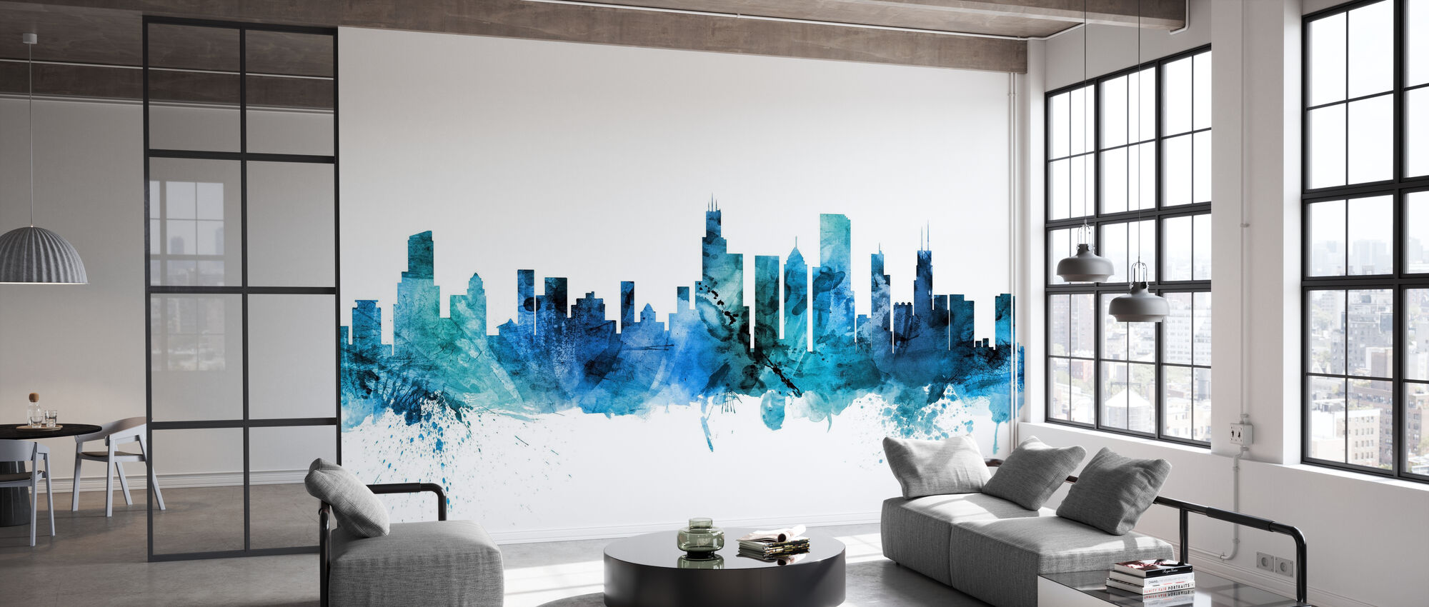 Chicago Illinois Skyline - Behang - Kantoor