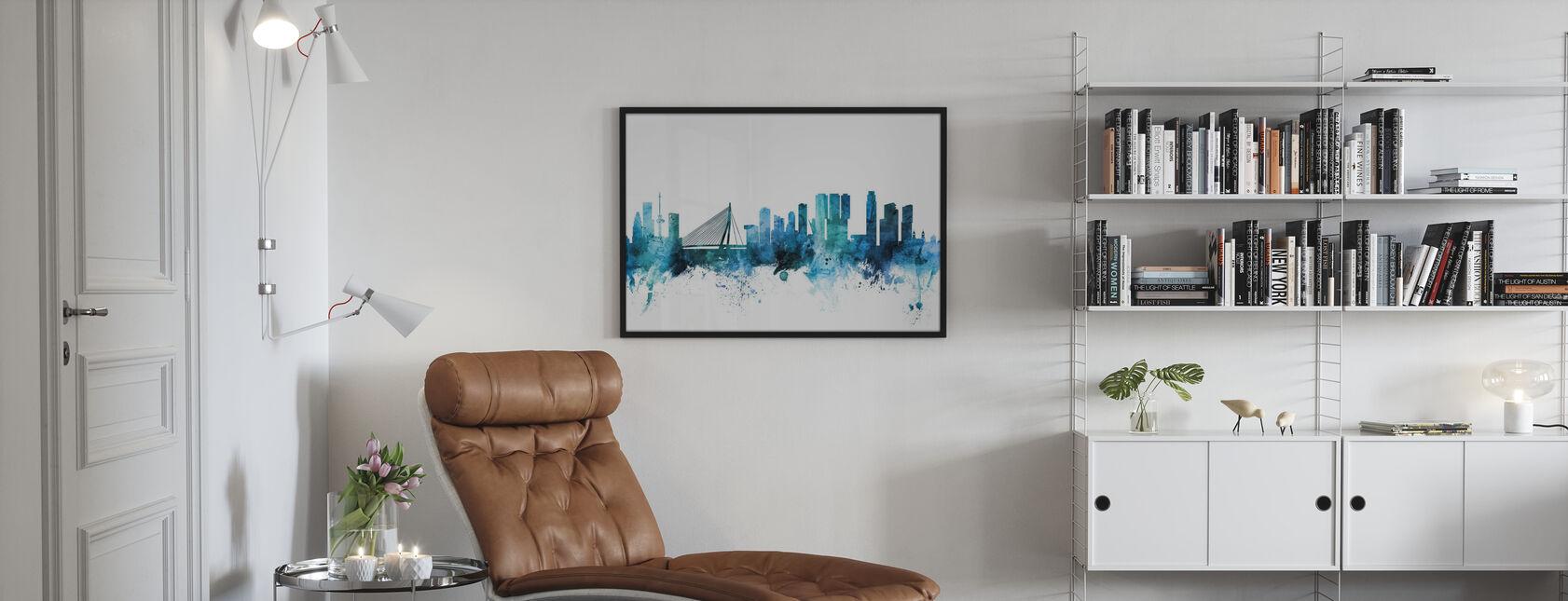 Rotterdam de Nederlandse Skyline - Ingelijste print - Woonkamer