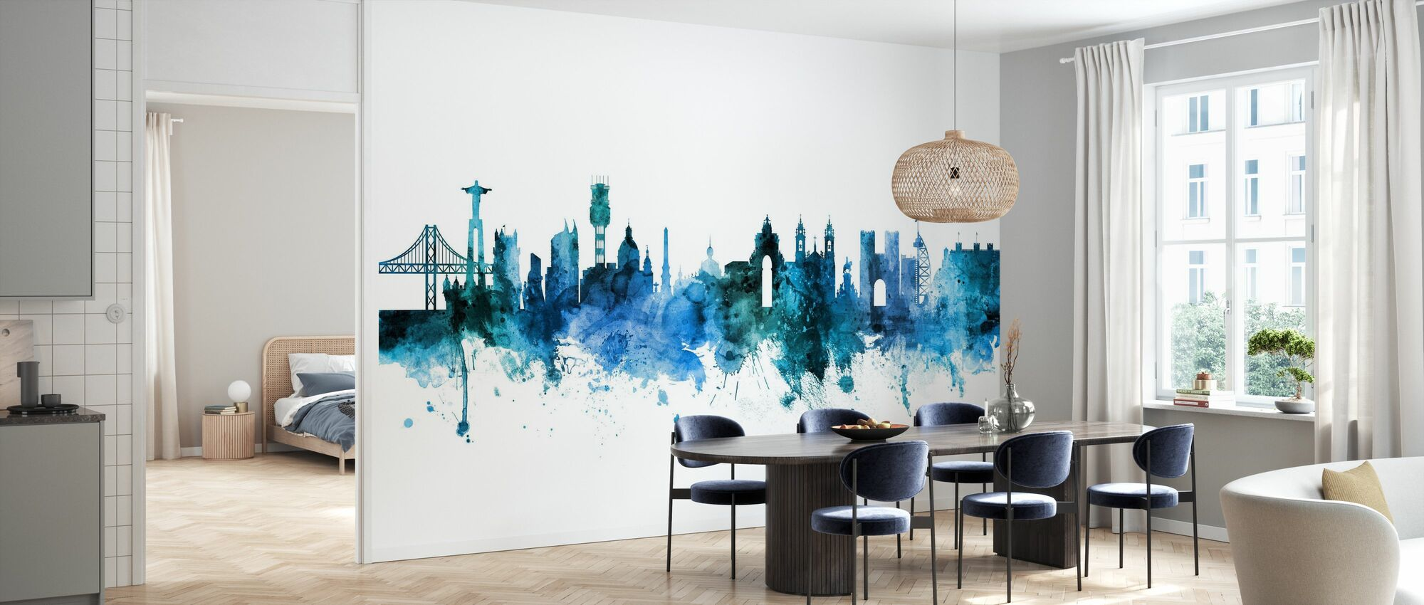 Lisboa Portugal Skyline - Papel pintado - Cocina