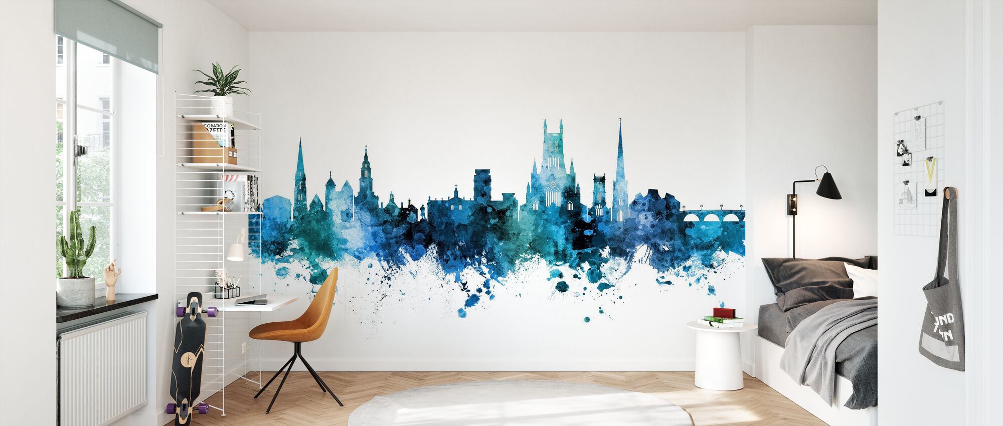 Worcester England Skyline - Wallpaper - Kids Room