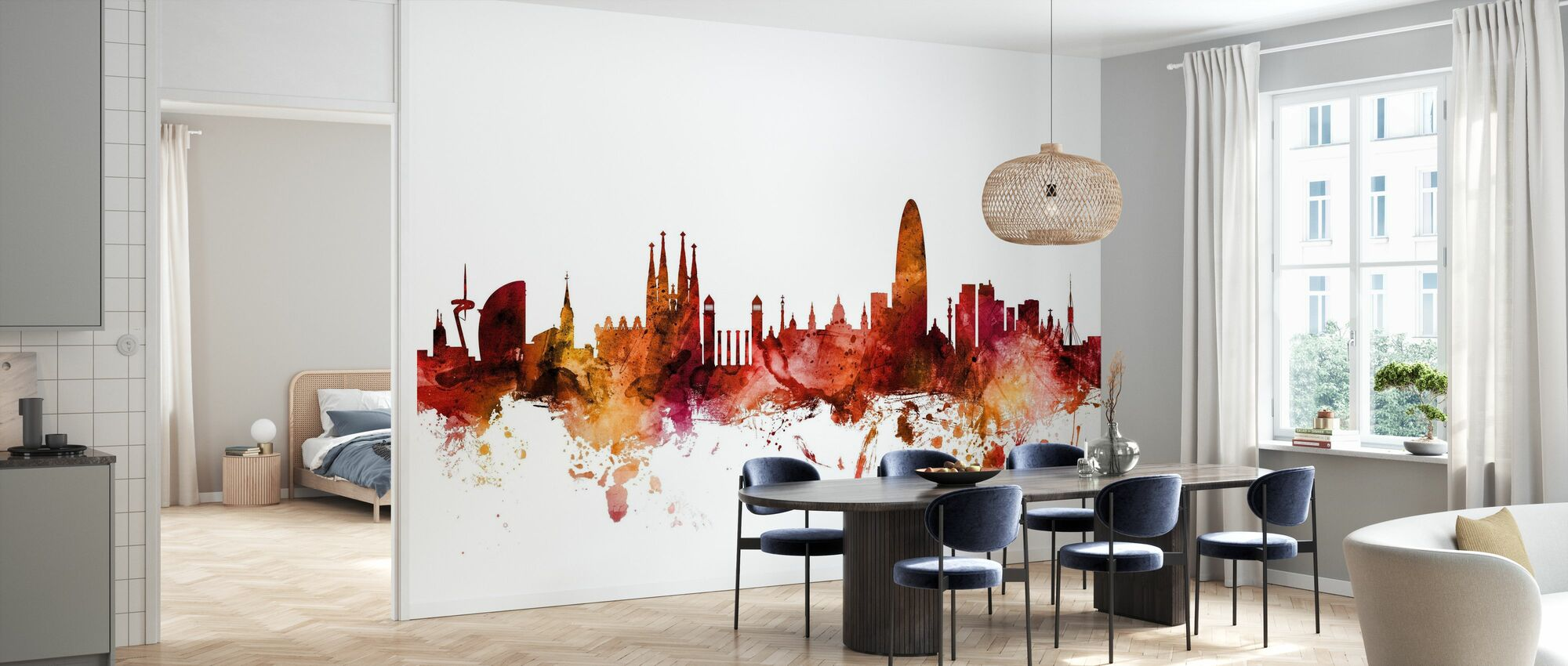 Barcelona España Skyline - Papel pintado - Cocina