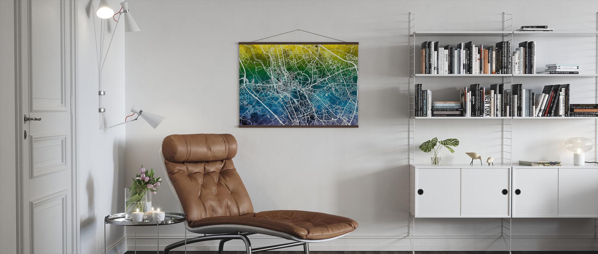Oxford Straßenkarte - Bluegreen - Poster - Wohnzimmer