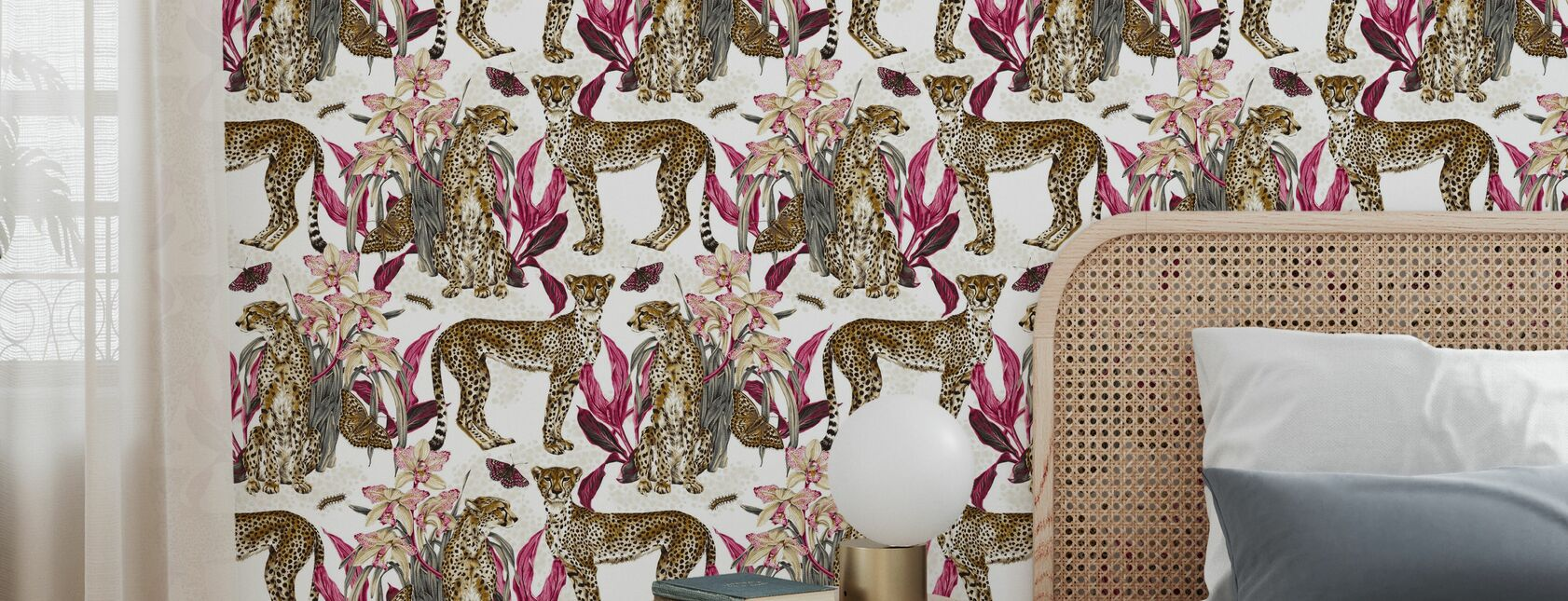 Cheetah Reveries - Cognac and Fuschia - Wallpaper - Bedroom