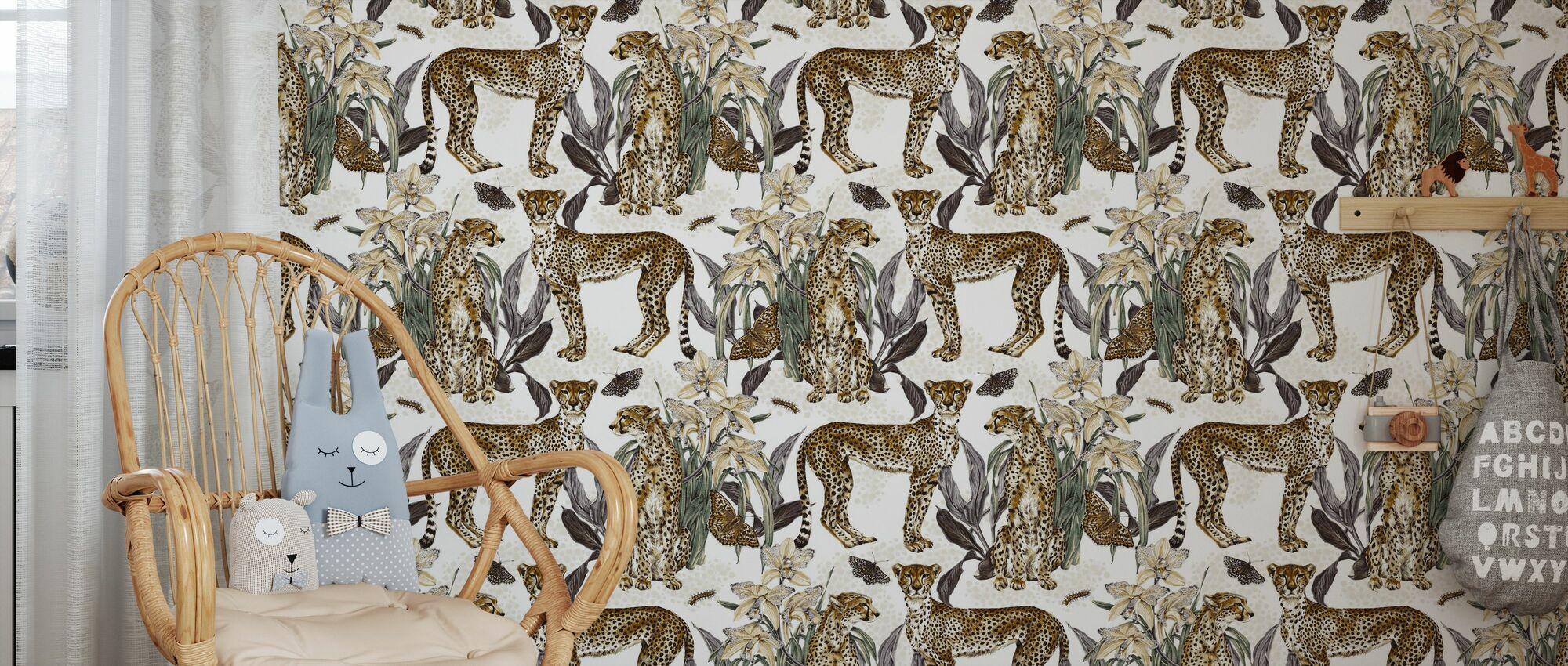 Cheetah Reveries - Cognac and Steel - Wallpaper - Kids Room