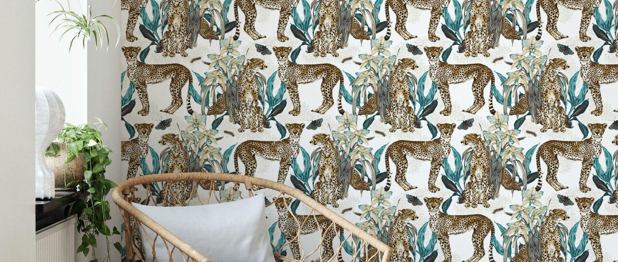 Cheetah Reveries - Cognac and Turqouise - Wallpaper - Living Room