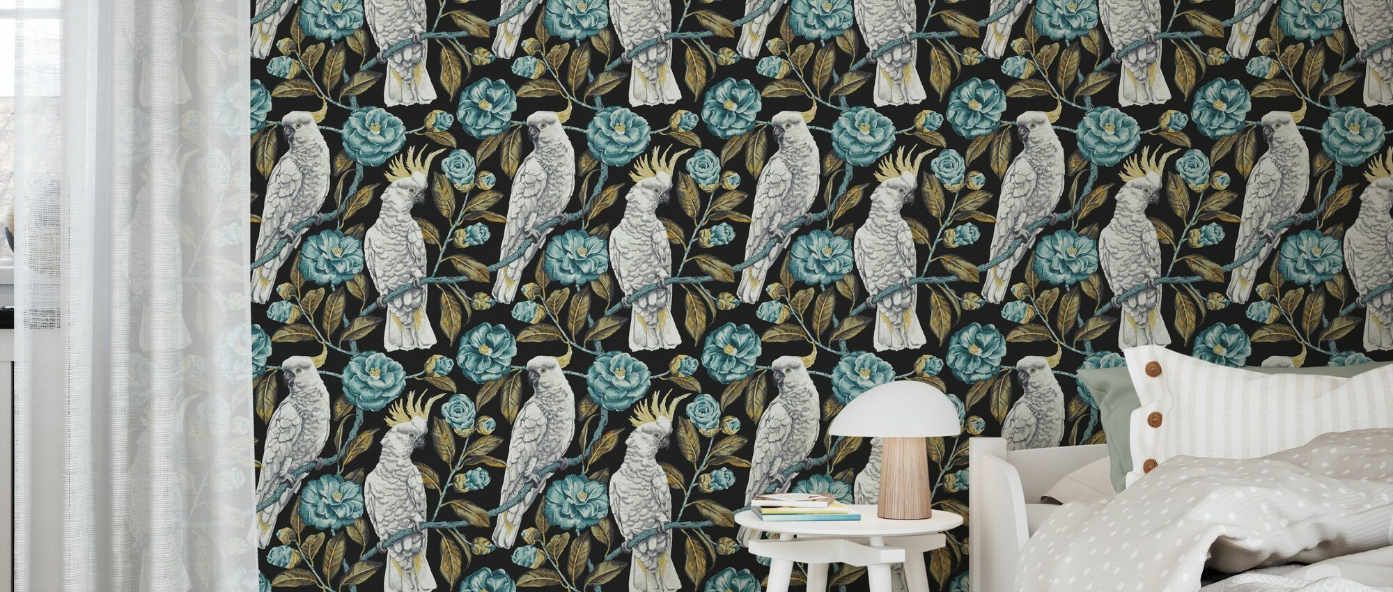 Cockatoo Paradise - Anthracite and Aquatic - Wallpaper - Kids Room