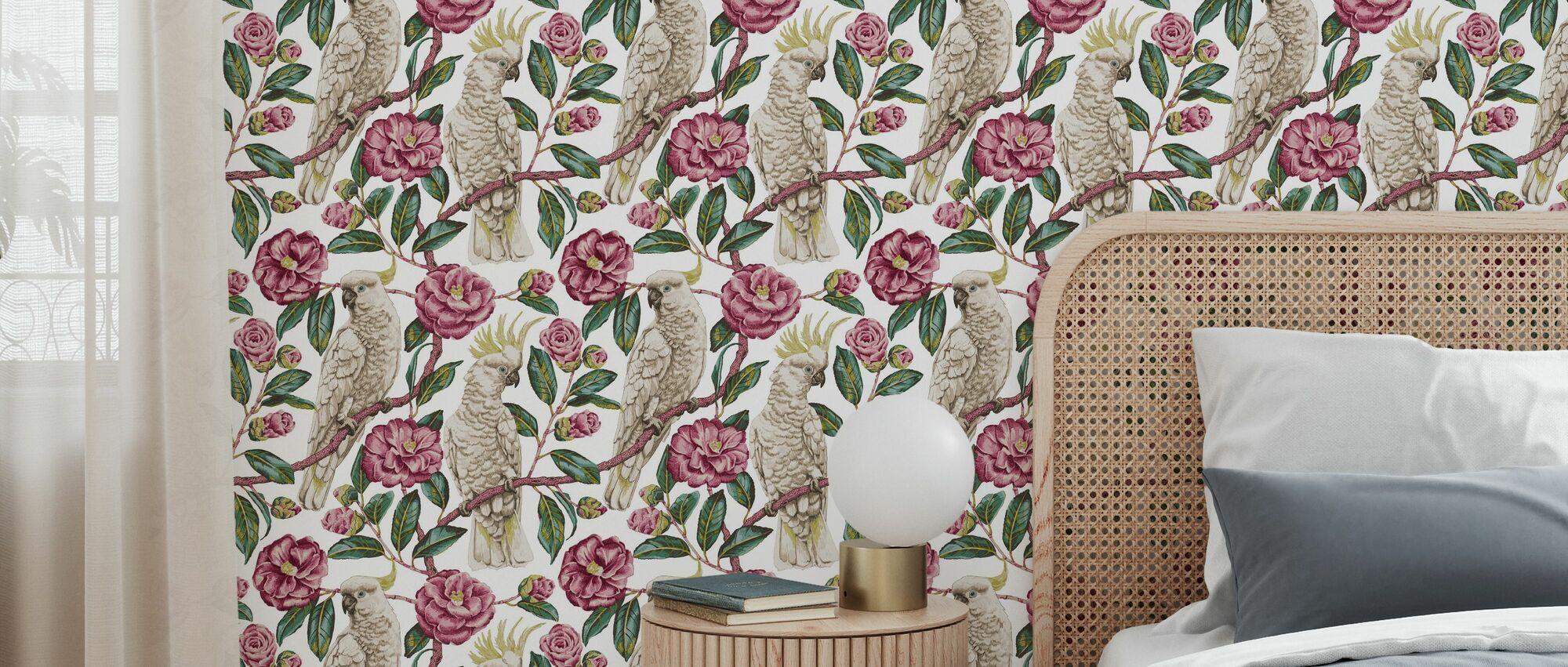 Cockatoo Paradise - Geranium and Emerald - Wallpaper - Bedroom