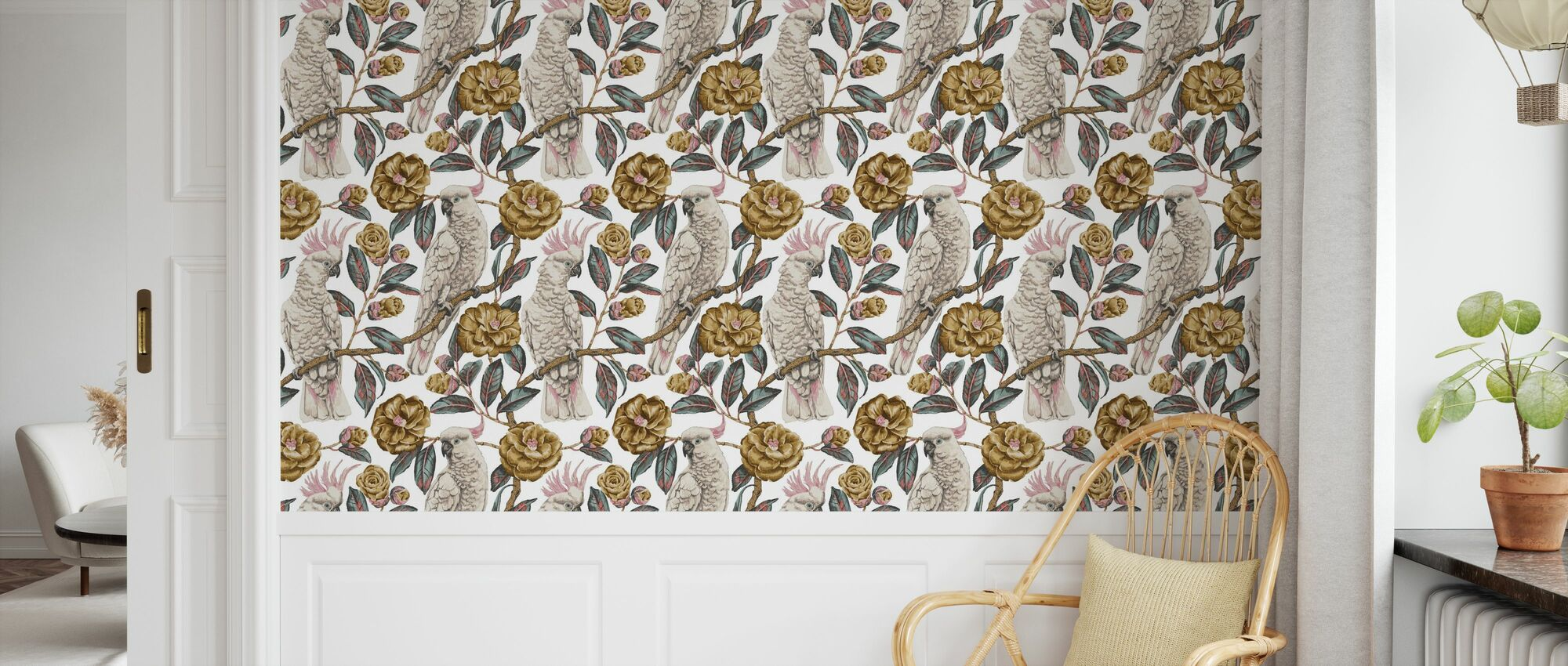 Cockatoo Paradise - Honey and Silver - Wallpaper - Kids Room