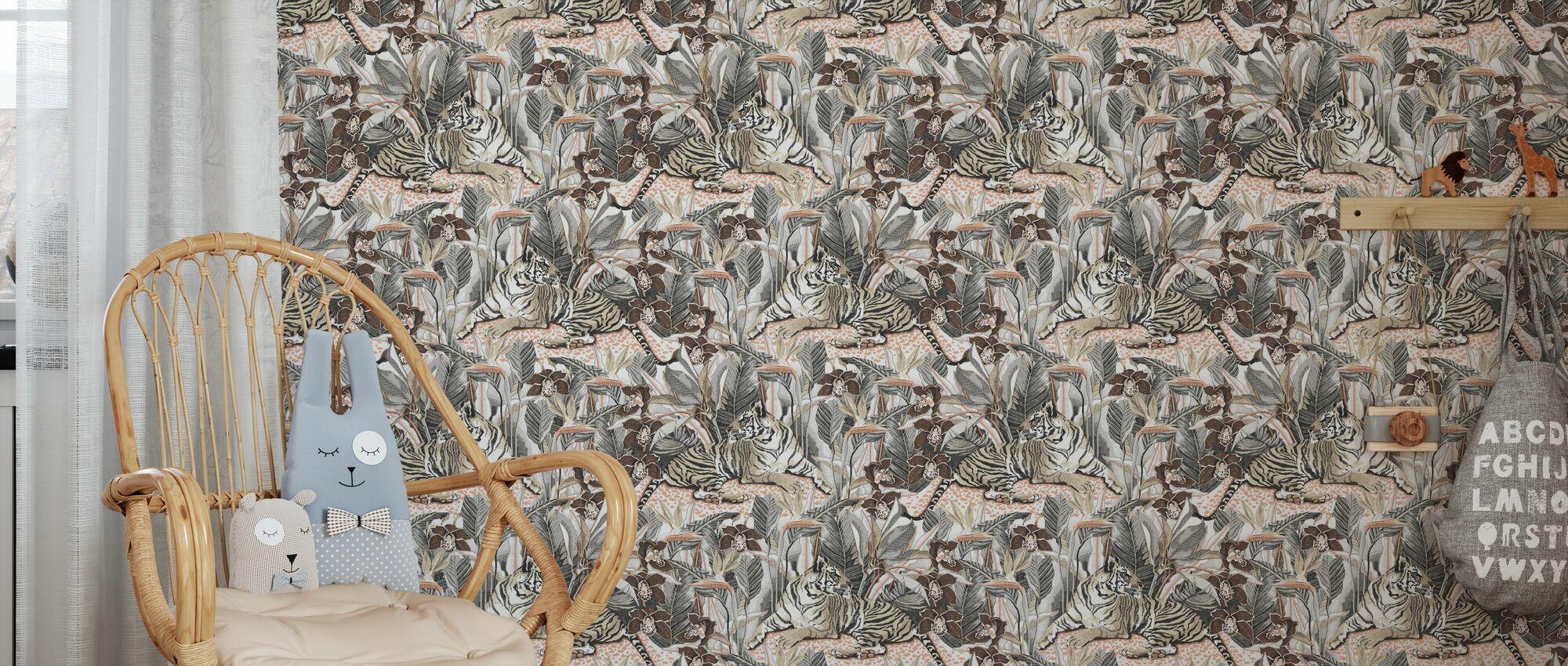 Resting Tigress - Chocolate and Steel - Wallpaper - Kids Room