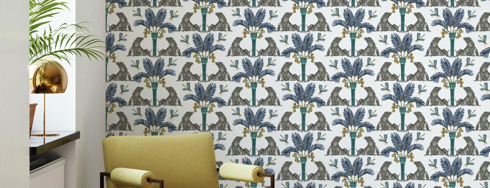 The Iguana Dream - Turmeric and Indigo - Wallpaper - Living Room