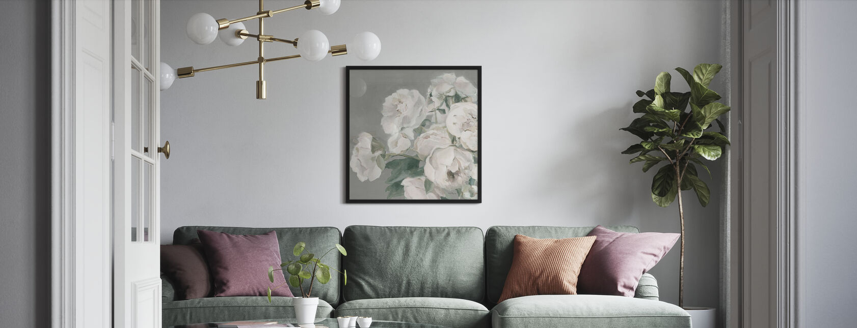 Peonies on Gray - Framed print - Living Room