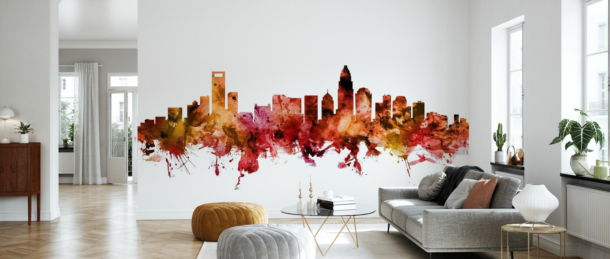 Charlotte North Carolina Skyline - Wallpaper - Living Room