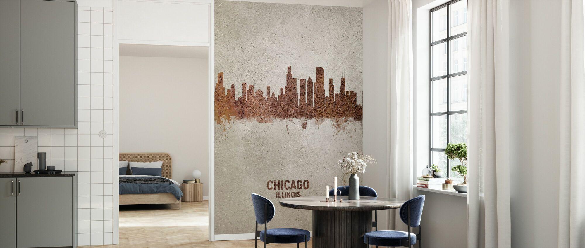 Chicago Illinois Rust Skyline - Wallpaper - Kitchen