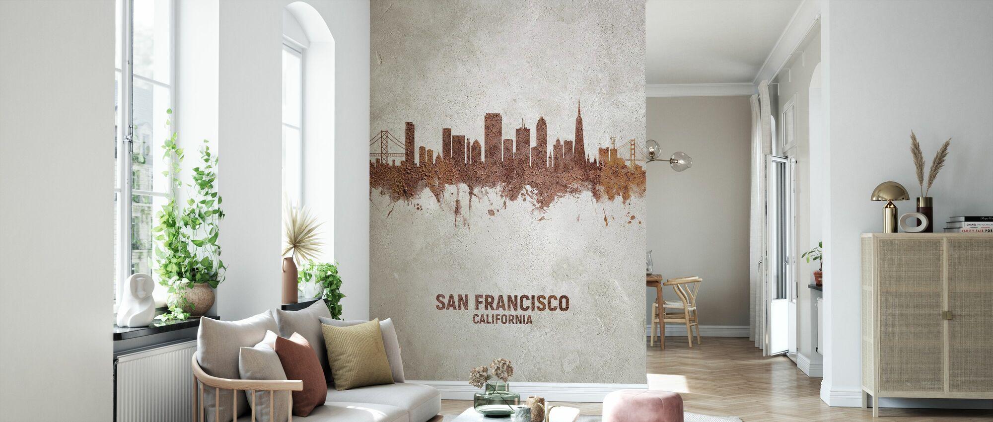 San Francisco California Rust Skyline - Wallpaper - Living Room