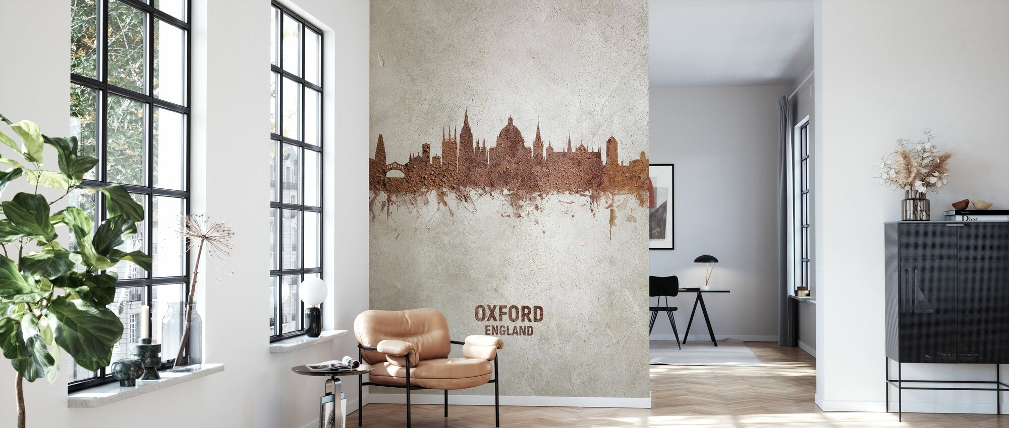 Oxford England Rust Skyline - Wallpaper - Living Room