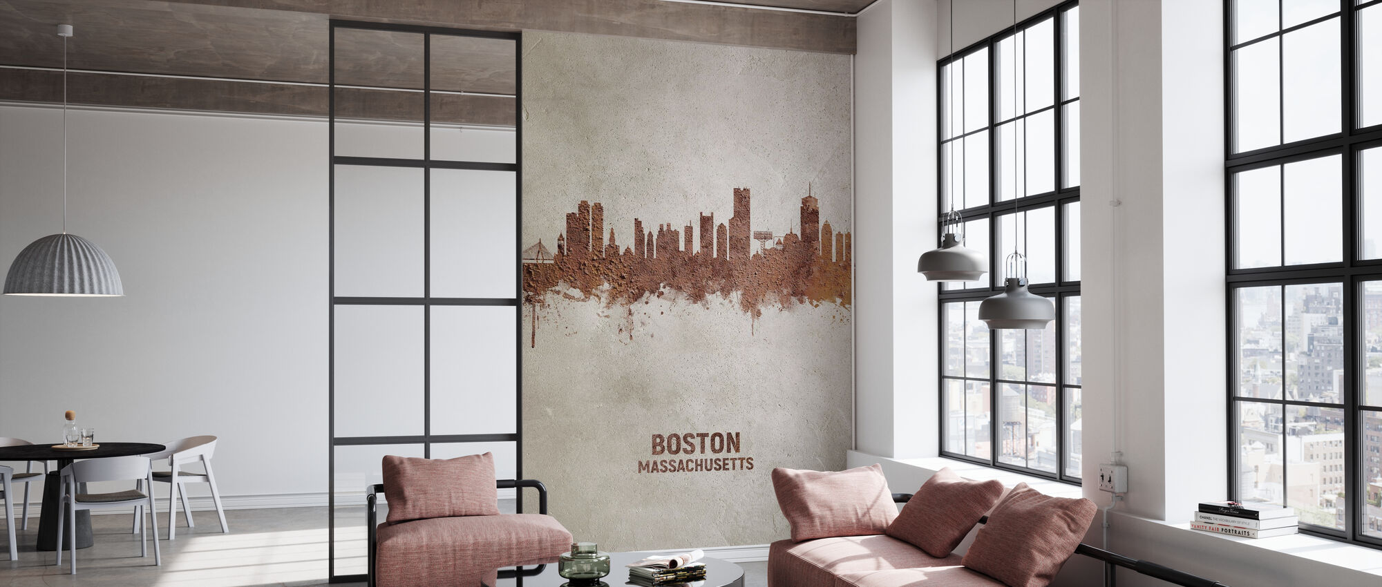 Boston Massachusetts Rust Skyline - Wallpaper - Office