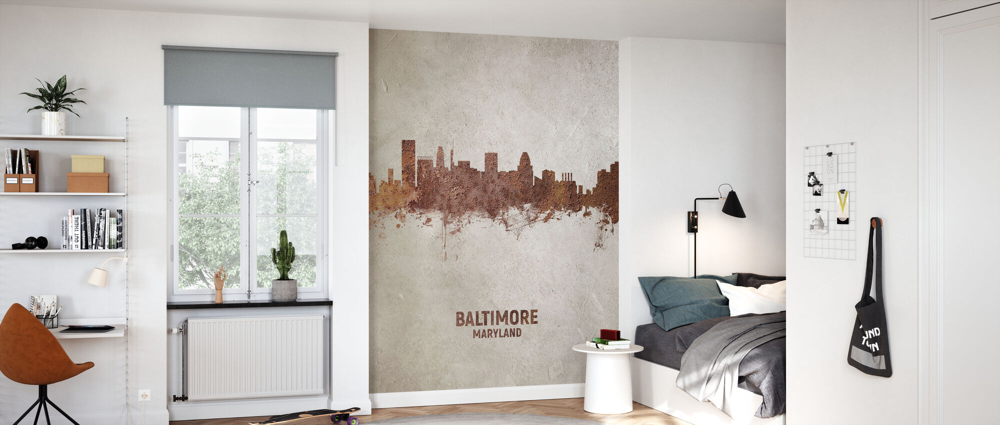 Baltimore Maryland Rust Skyline - Wallpaper - Kids Room