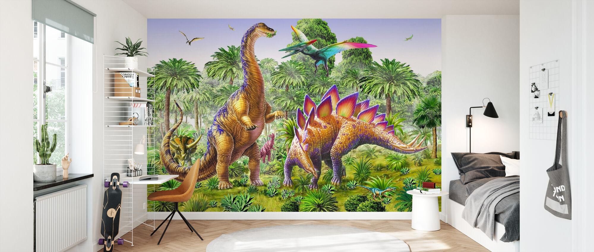 Brachiosaur and Stegasaur - Wallpaper - Kids Room