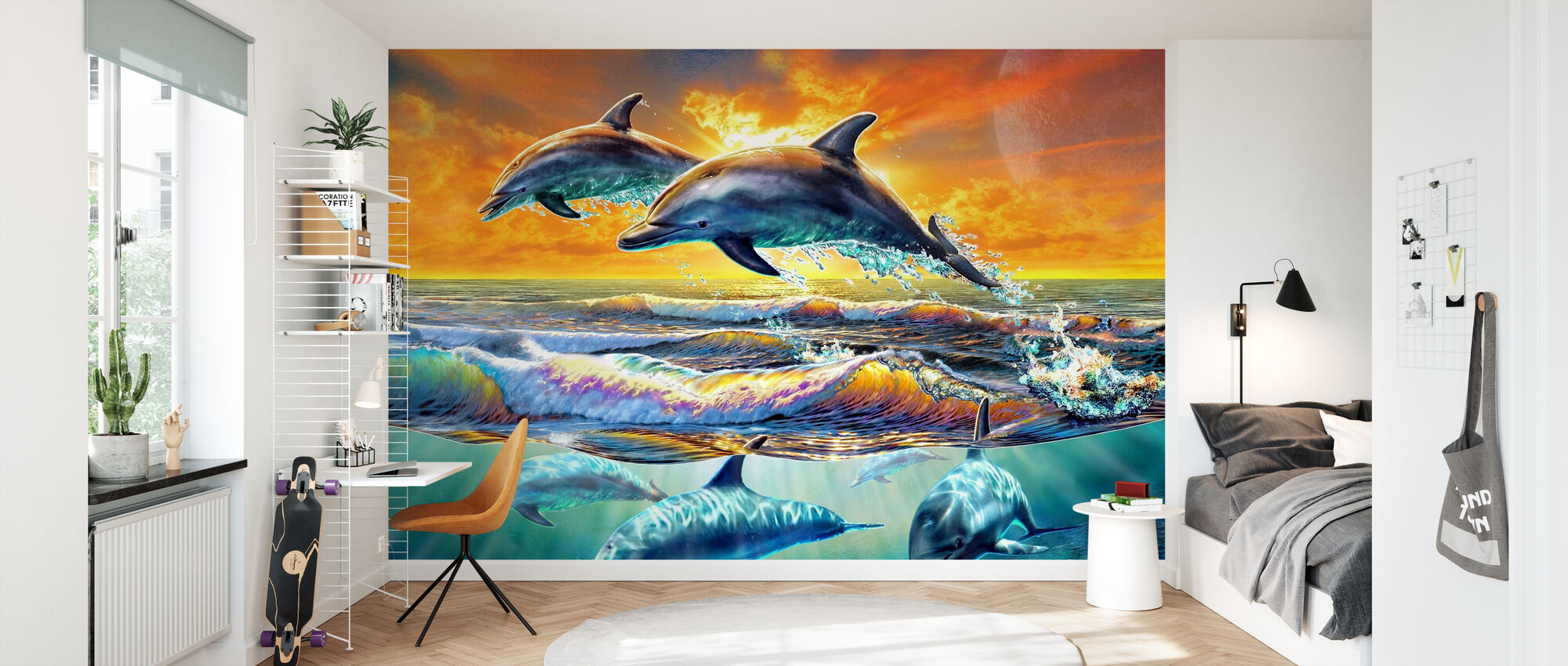 Dolphins at dawn - Wallpaper - Kids Room