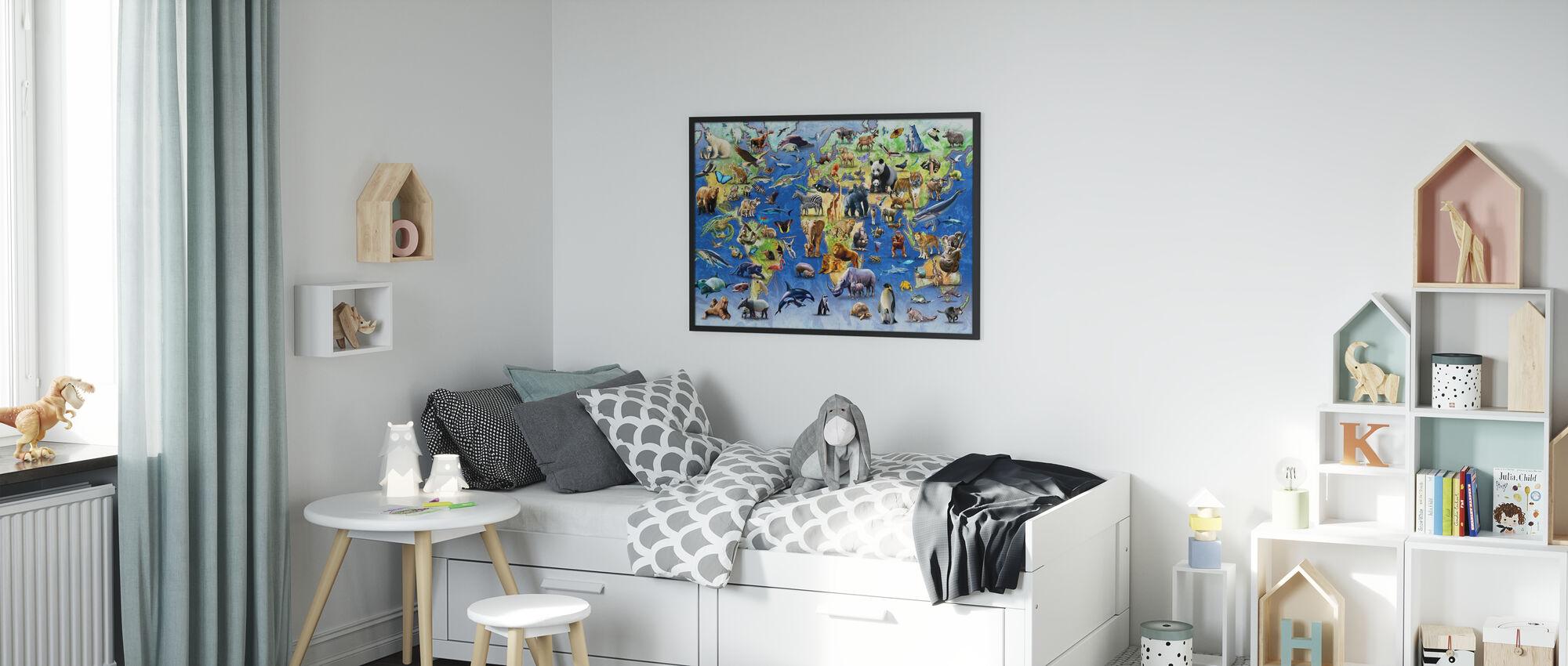 One Hundred Endangered Species - Framed print - Kids Room
