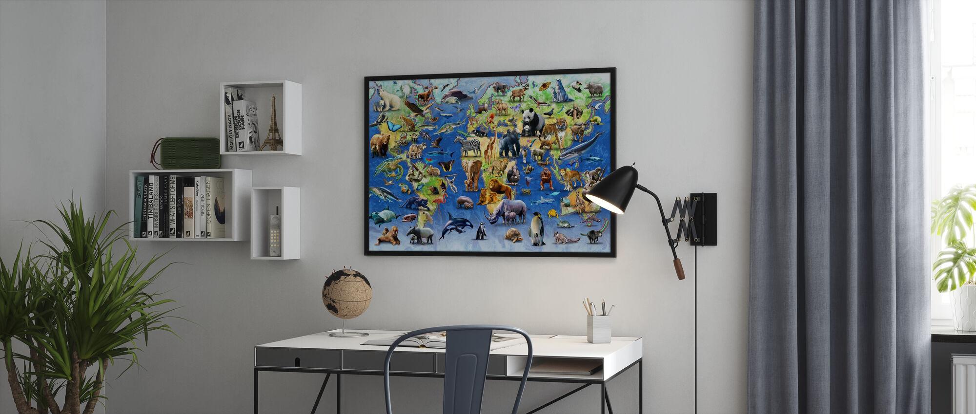Honderd bedreigde soorten - Ingelijste print - Kantoor