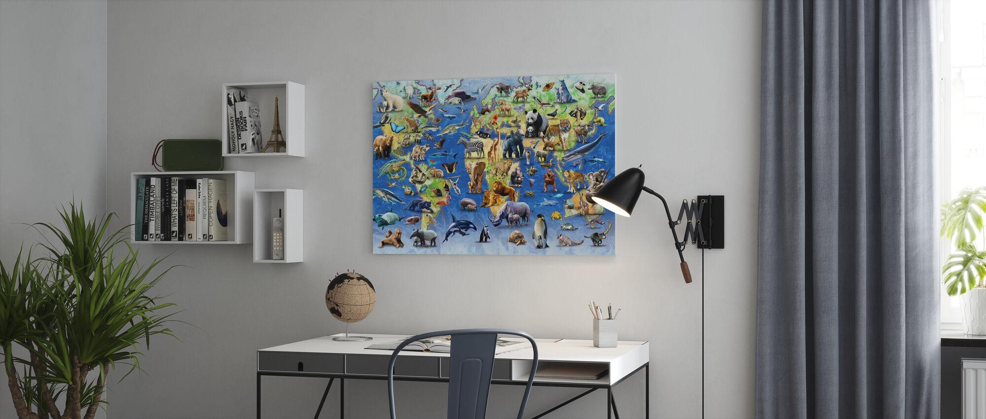 Honderd bedreigde soorten - Canvas print - Kantoor