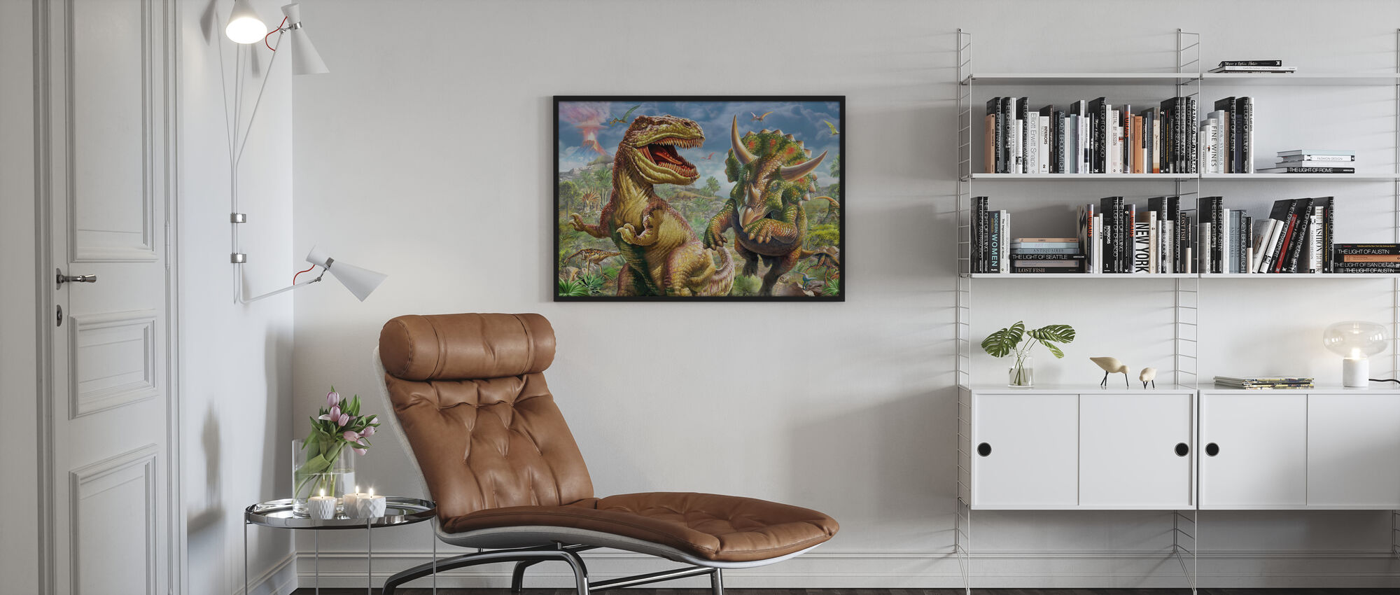 T-Rex og Triceratops - Plakat - Stue