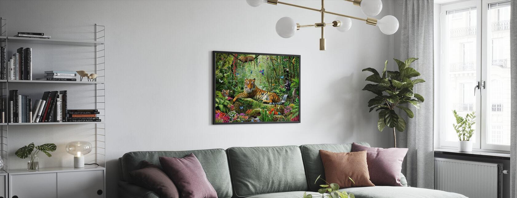 Tijger in de jungle - Poster - Woonkamer