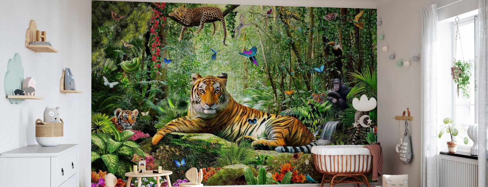 Tijger in de jungle - Behang - Babykamer