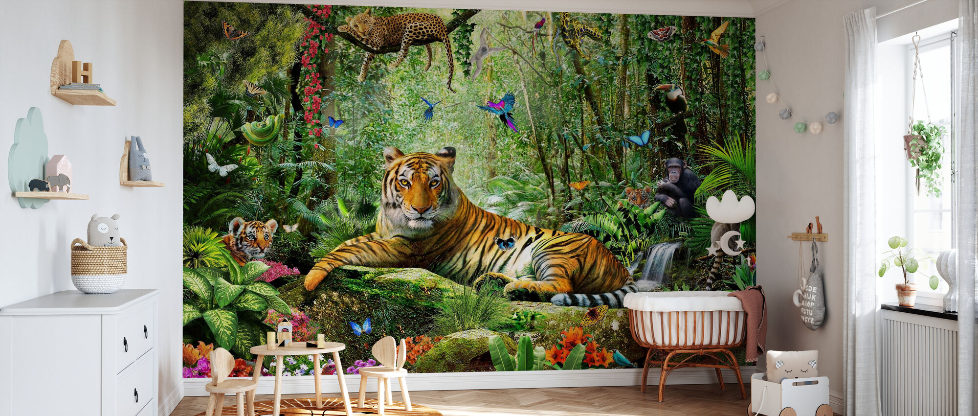Tijger in de jungle - Behang - Babykamer