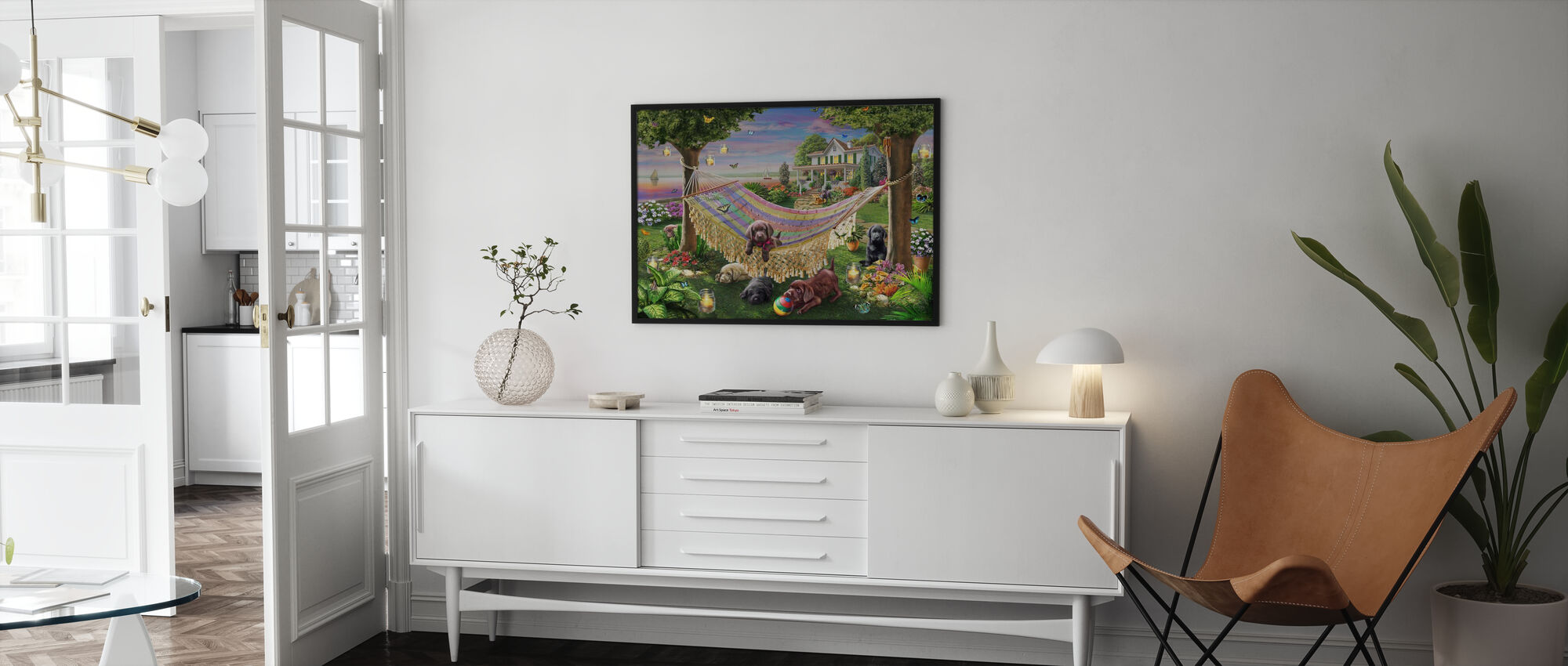 Puppies And Butterflies - Framed print - Living Room
