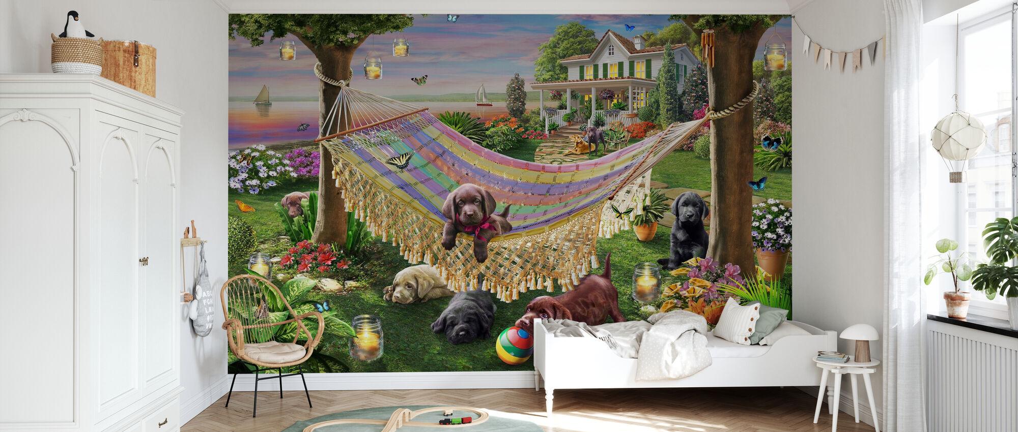Cuccioli E Farfalle - Carta da parati - Camera dei bambini