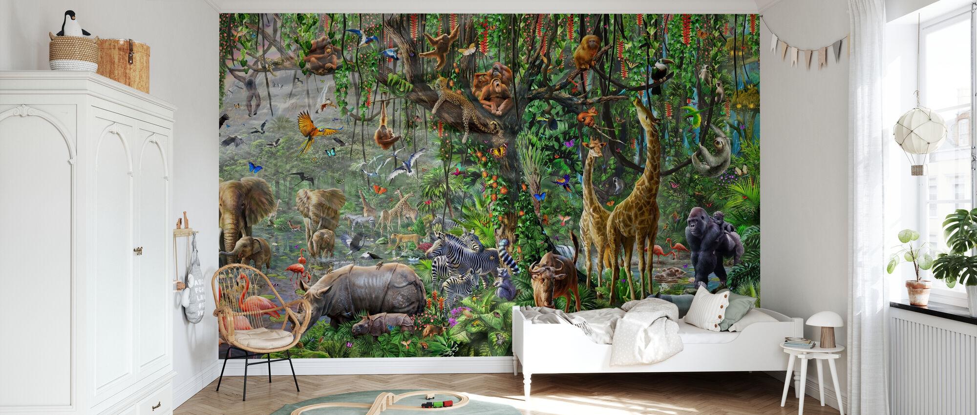 African Mural Panorama - Wallpaper - Kids Room