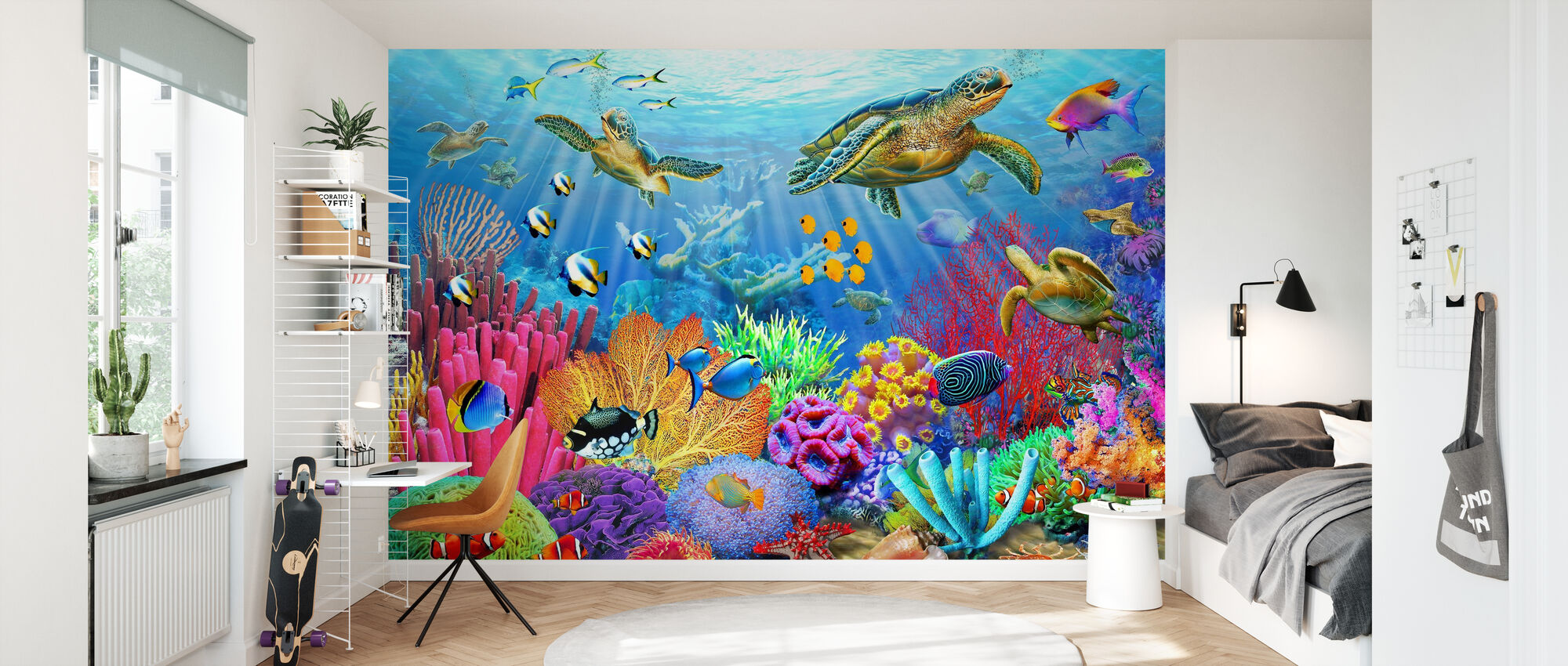 Turtle Coral Reef - Wallpaper - Kids Room