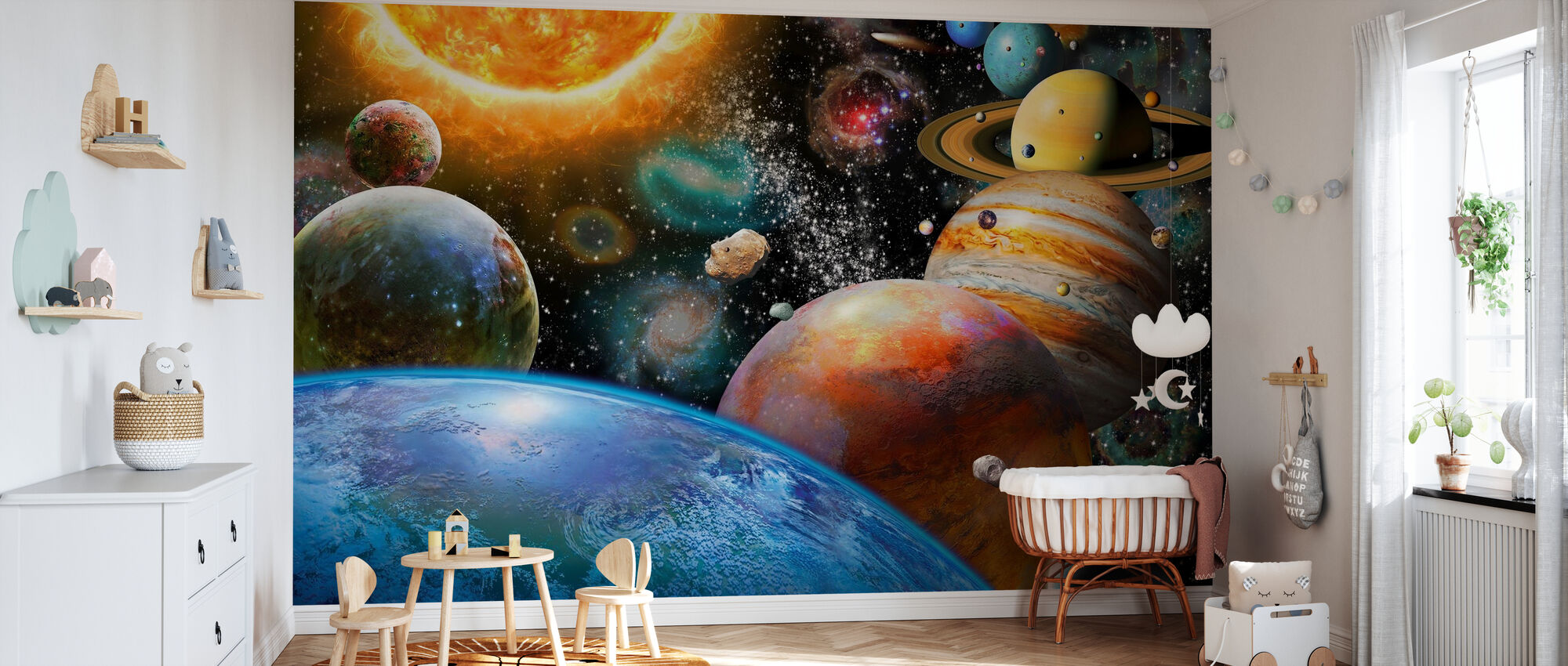 Planets and Their Moons - Wallpaper - Nursery