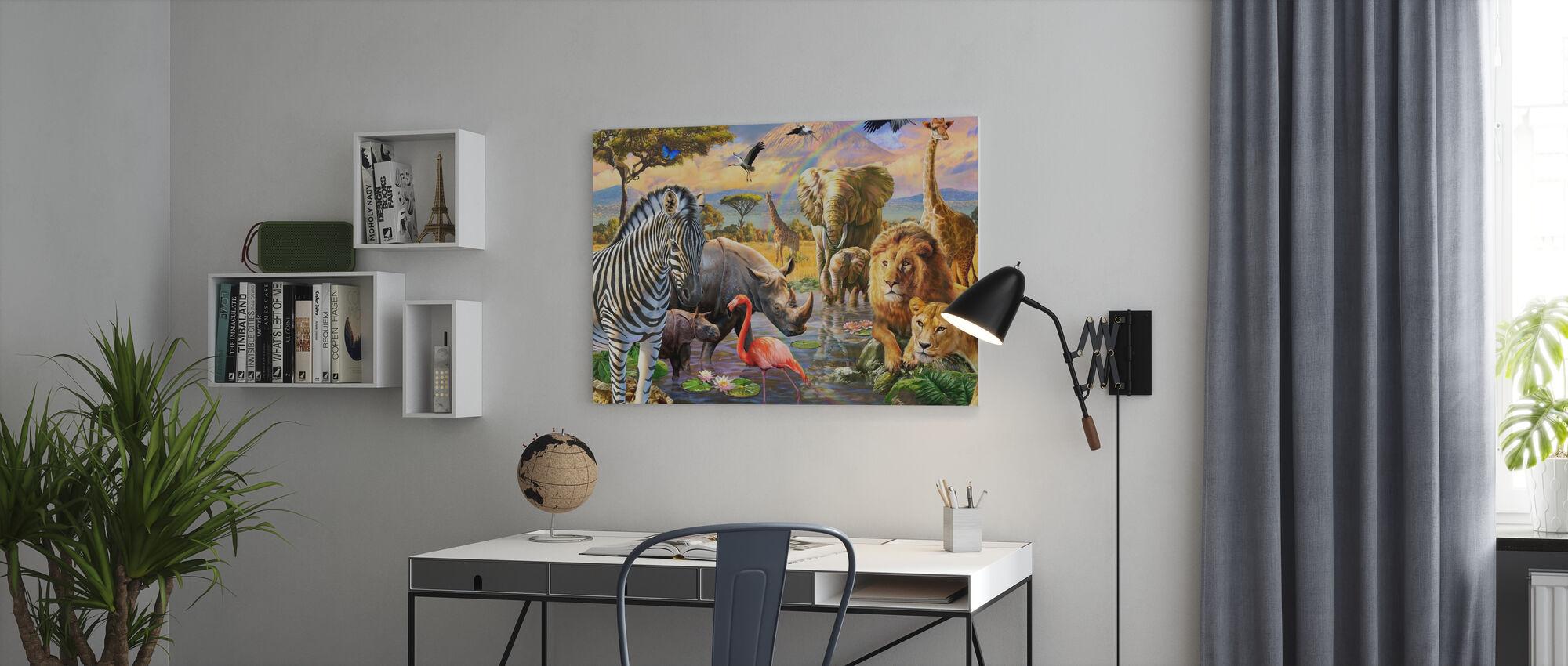 Savanna Watering Hole - Canvas print - Office