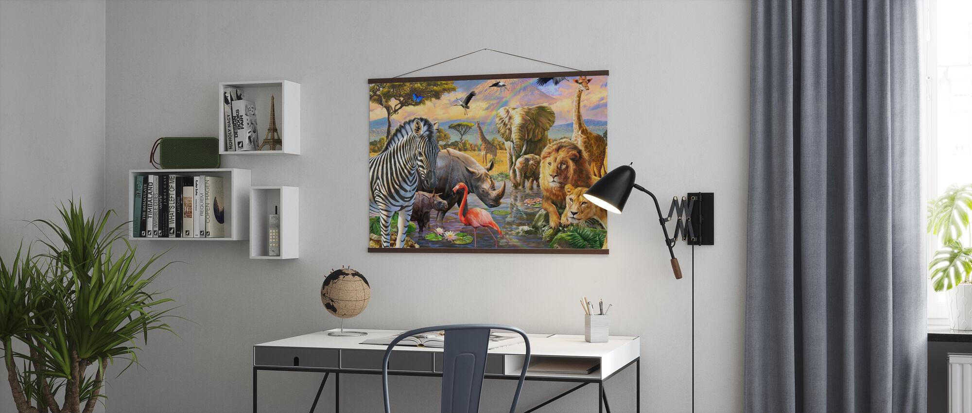 Savanna Watering Hole - Poster - Office
