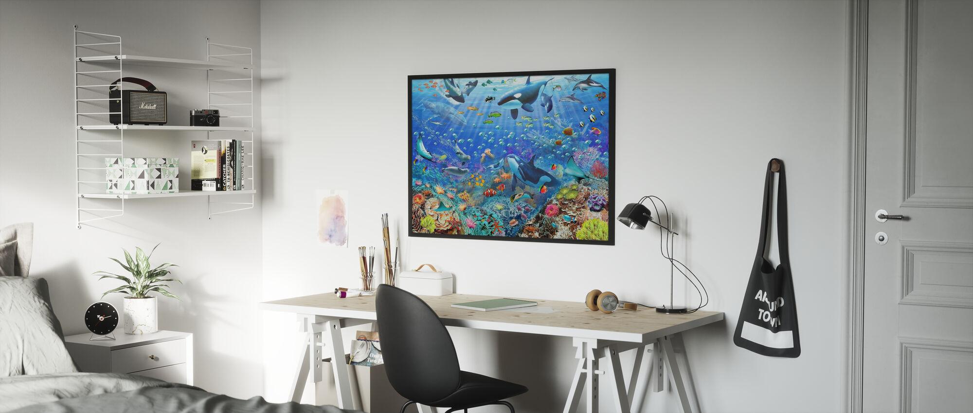 Undervattensscen - Inramad tavla - Barnrum