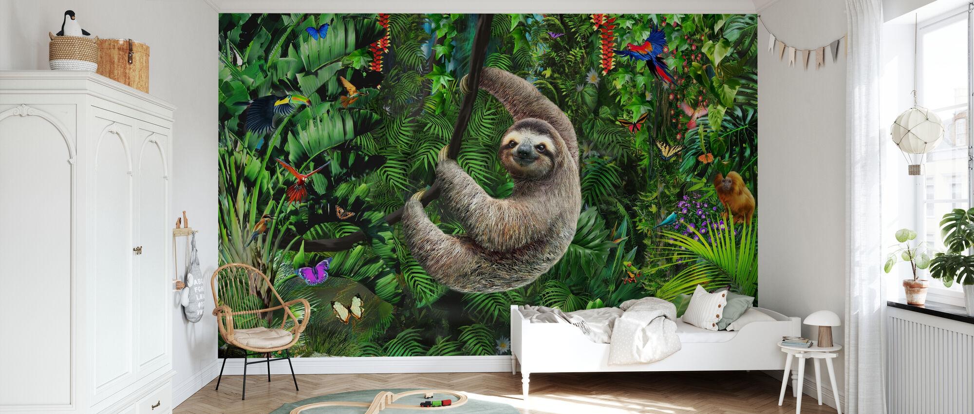 Sloath in Jungle - Behang - Kinderkamer