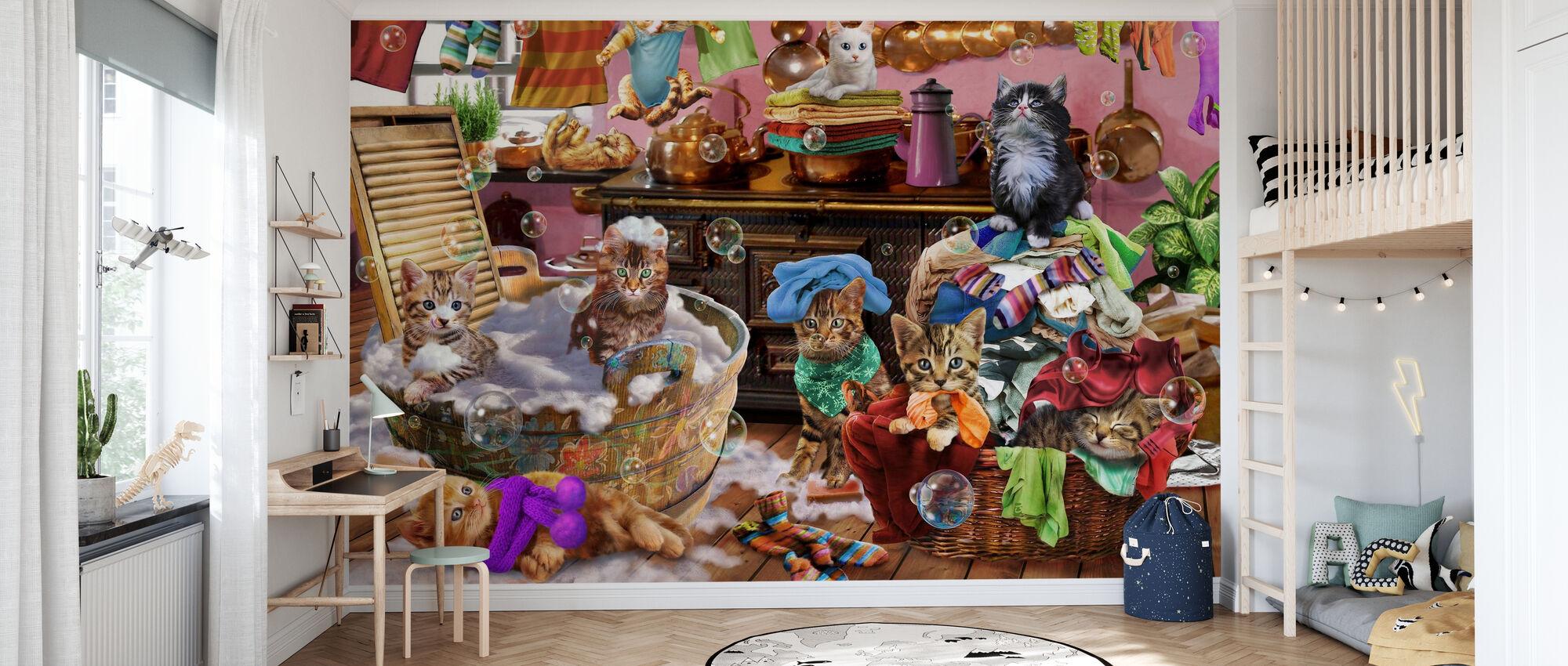 Kätzchen in der Küche - Tapete - Kinderzimmer