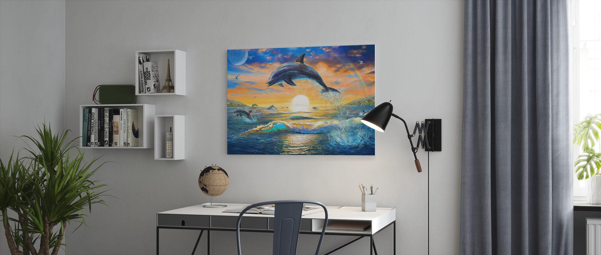 Dolphin Sunrise - Canvas print - Office