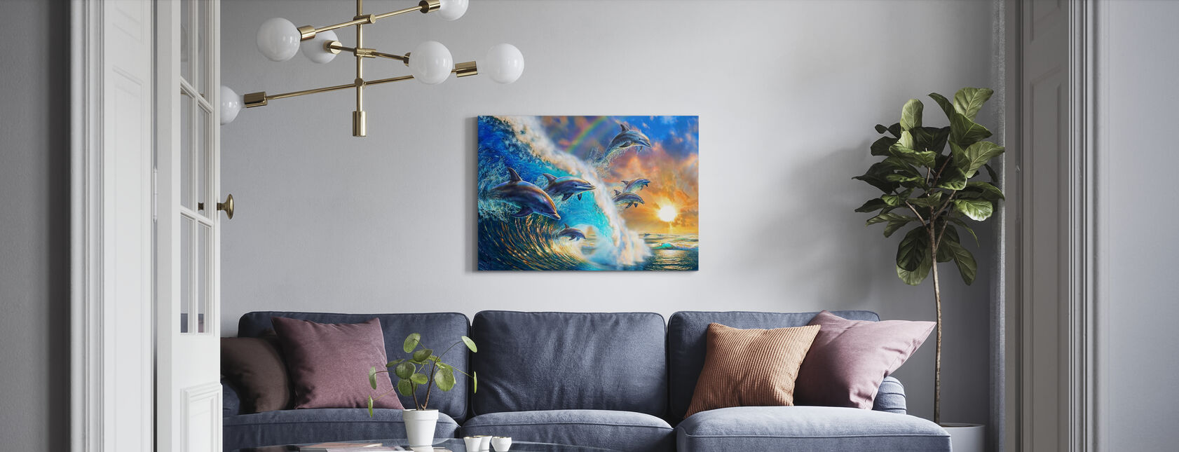 Dolphin Wave - Canvas print - Living Room