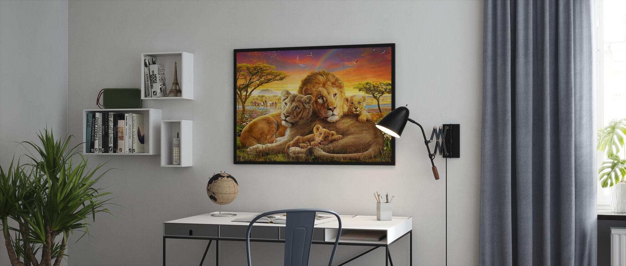 Liefdevolle leeuwen - Ingelijste print - Kantoor