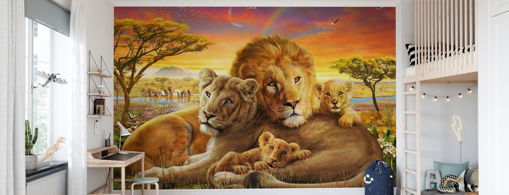 Liebevolle Löwen - Tapete - Kinderzimmer
