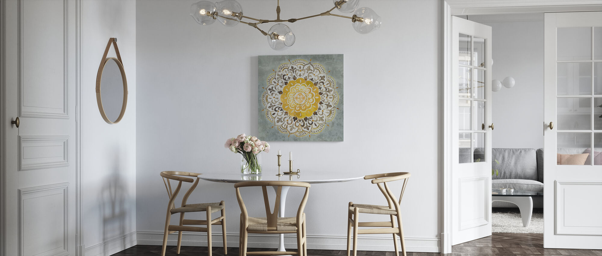 Mandala Delight - Yellow Grey - Canvas print - Kitchen