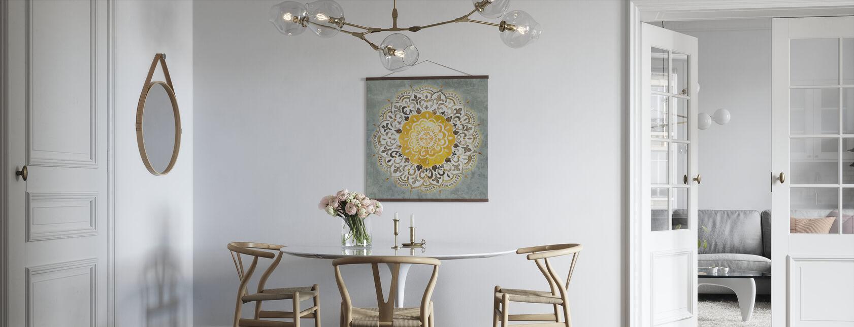 Mandala Delight - Gul Grå - Plakat - Kjøkken