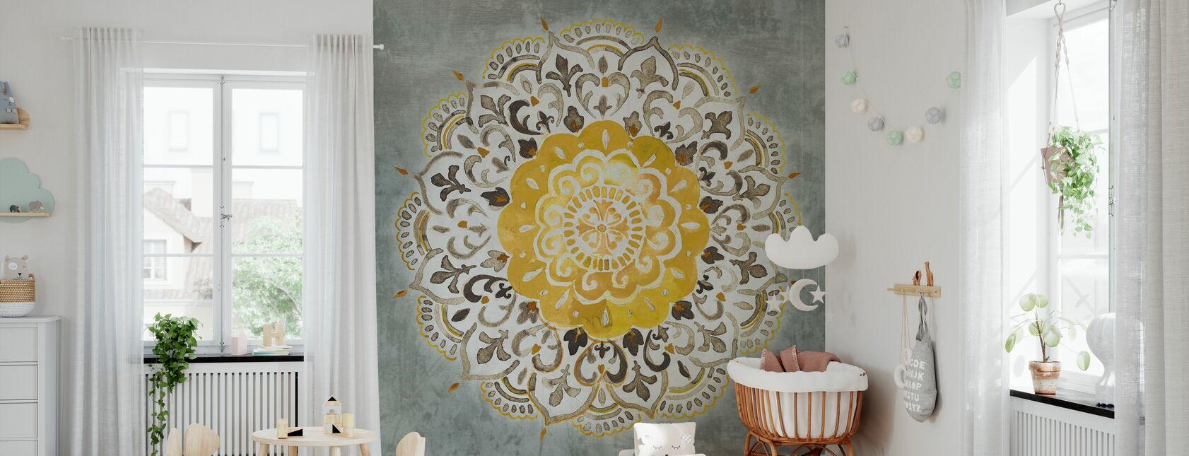 Mandala Delight - Keltainen Harmaa - Tapetti - Vauvan huone